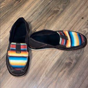 Boho Rainbow striped western Ariat flats